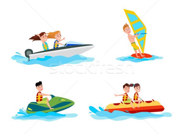 Zee water activiteiten zomer spelevaren het windsurfen Stockfoto © robuart