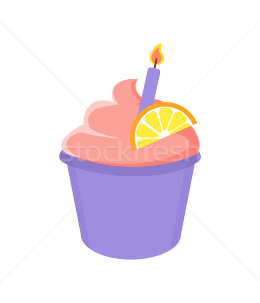 Birthday Cupcake with Lighted Candle and Orange Stock photo © robuart