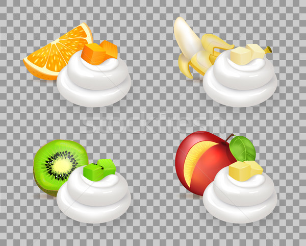 Stock photo: Delicious Tropical Fruits and Whipped Cream Swirls