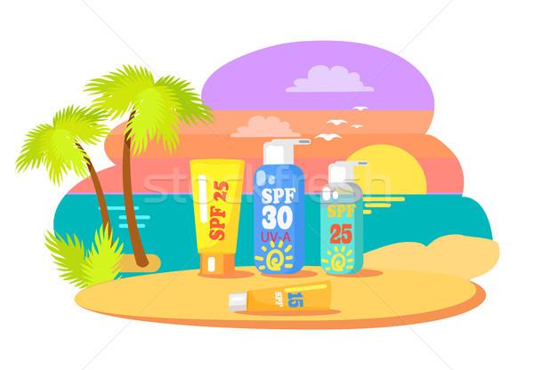 日焼け アプリケーション プロモーション 日没 ビーチ ストックフォト © robuart