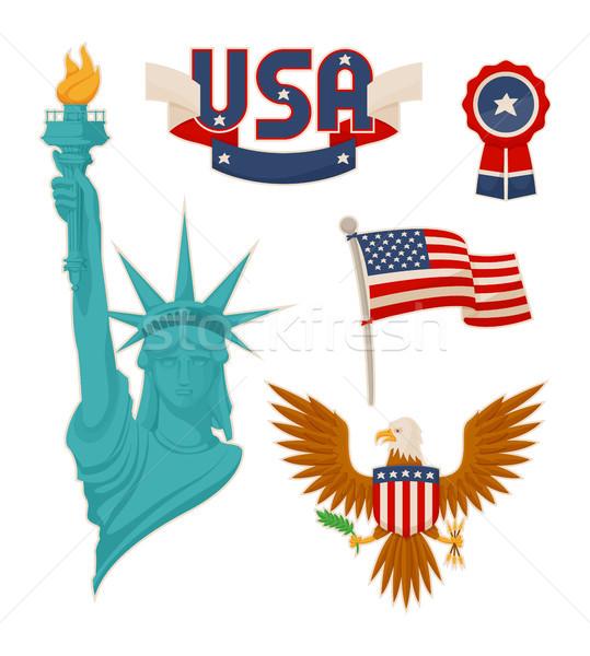 USA symboliek kleur standbeeld vrijheid vlag Stockfoto © robuart