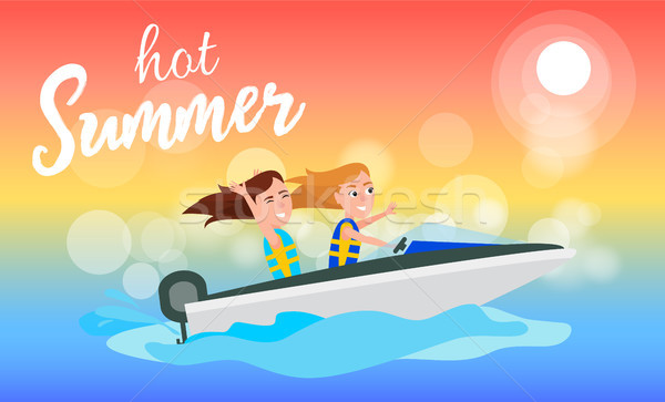 Hot Summer Boating Activity in Summertime, Girls Stock photo © robuart