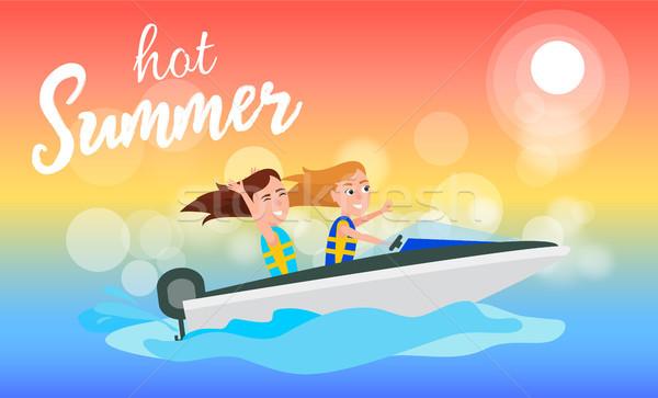 Hot zomer spelevaren activiteit zomertijd meisjes Stockfoto © robuart