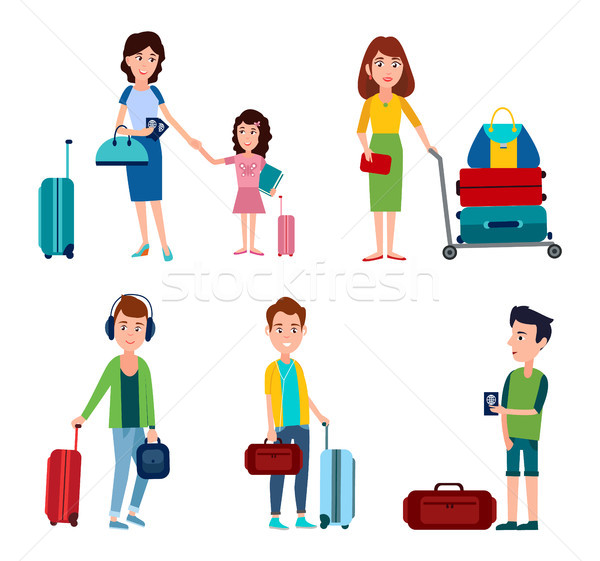 Man and Woman in Airport, Vector Illustration Stock photo © robuart