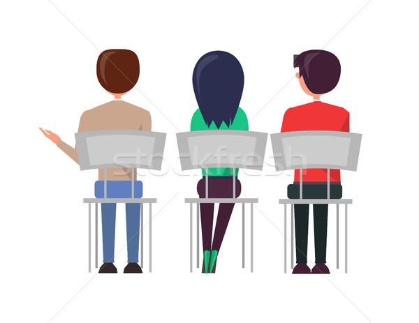 Stock fotó: Férfi · nő · ül · székek · megbeszél · hátulnézet