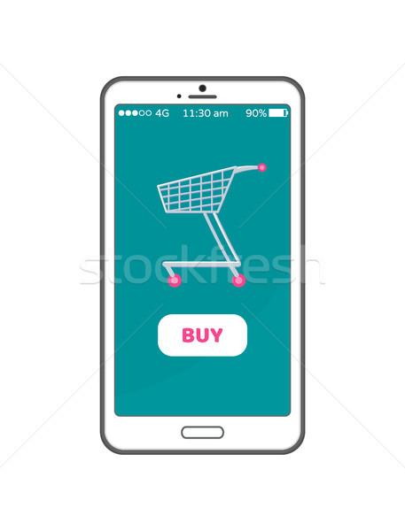 Vásárol gomb online vásárlás mobiltelefon kosár képernyő Stock fotó © robuart
