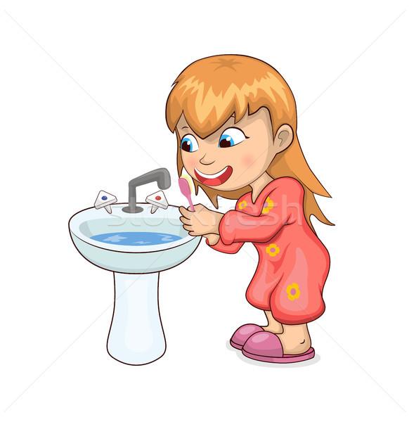 Girl Brushing Teeth Happily Vector Illustration Stock photo © robuart