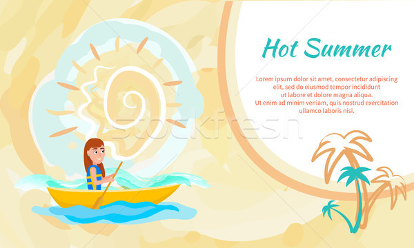 Hot Summer Poster with Girl Kayaking Sitting Boat Stock photo © robuart