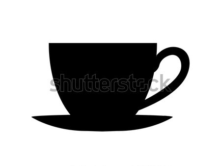 Silhouette of Cup on Plate Vector Illustration Stock photo © robuart