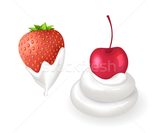 ízletes eper cseresznye friss tejszínhab szett Stock fotó © robuart