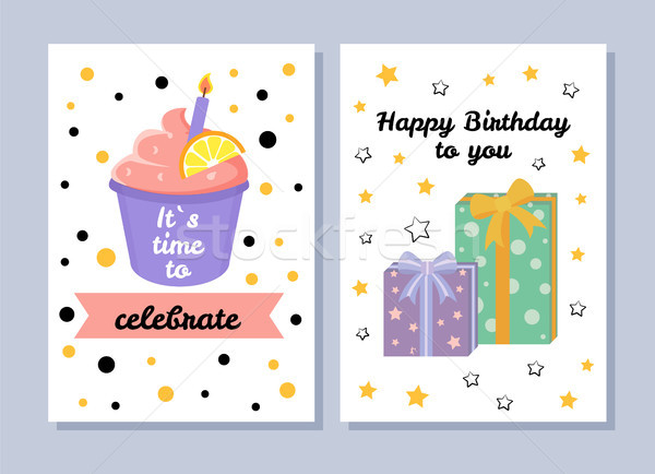 Tijd vieren briefkaart ansichtkaarten collectie gelukkige verjaardag Stockfoto © robuart