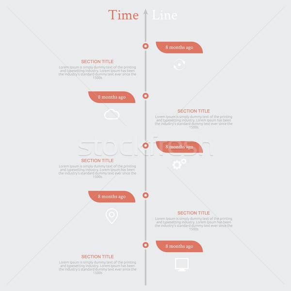 Idővonal infografika diagram szöveg hónapok retró stílus Stock fotó © robuart
