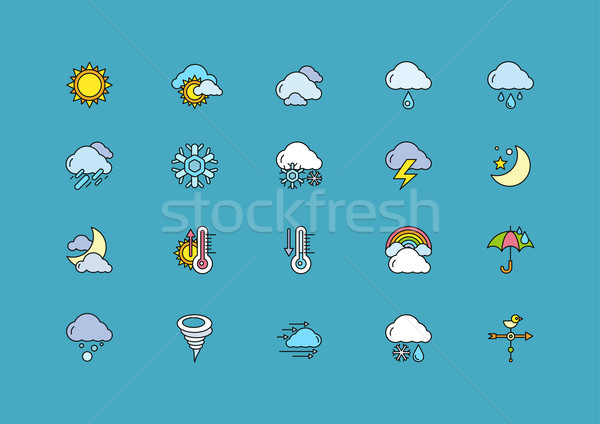 Symbols weather Set of Colorful Outline Icons Stock photo © robuart