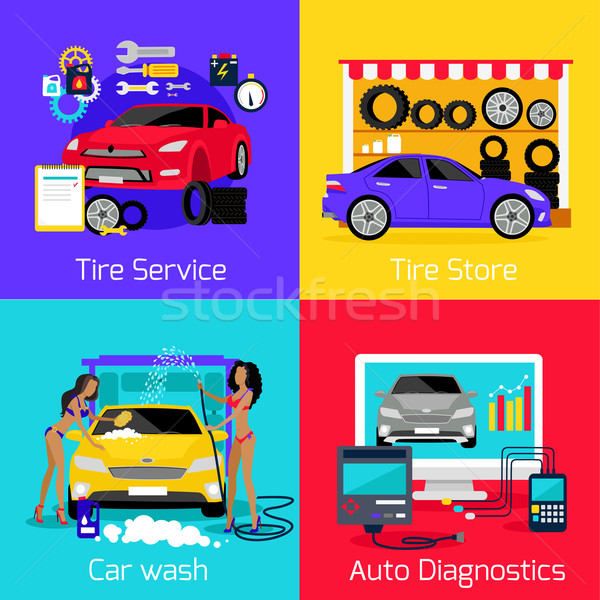 Services Car Washing Diagnostics Tire Stock photo © robuart