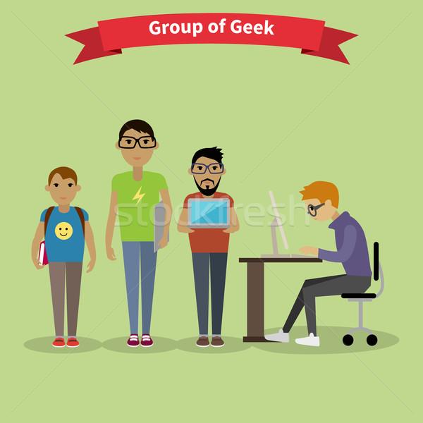 Geek gruppo squadra persone stile nerd Foto d'archivio © robuart