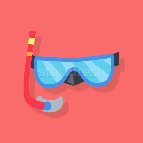 маске трубка дайвинг синий красный трубка Сток-фото © robuart