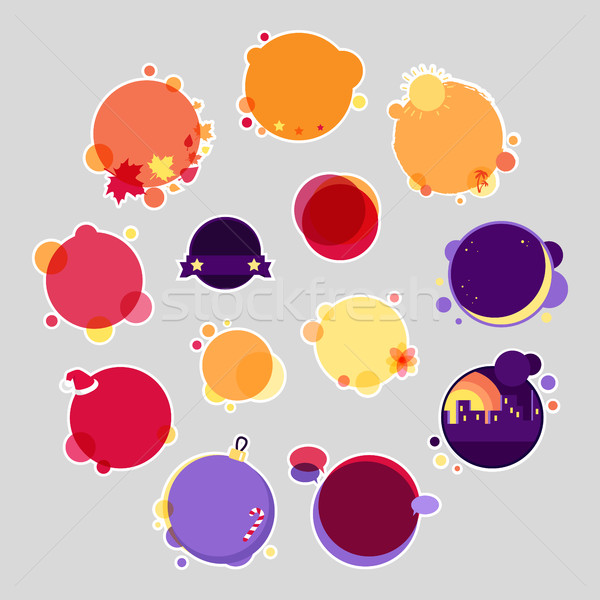 Collection of Round Stickers with Place for Text Stock photo © robuart