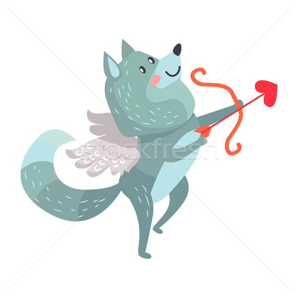 Wolf with Amoretto Wings Holds Bow and Arrows Stock photo © robuart