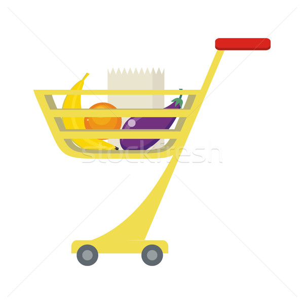 Shopping Trolley with Food Products. Stock photo © robuart