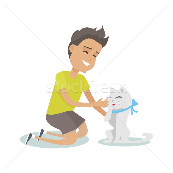 Playing with Pet Illustration in Flat Design. Stock photo © robuart