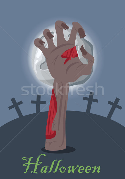 Zombie hand appears from grave with stone. Vector Stock photo © robuart