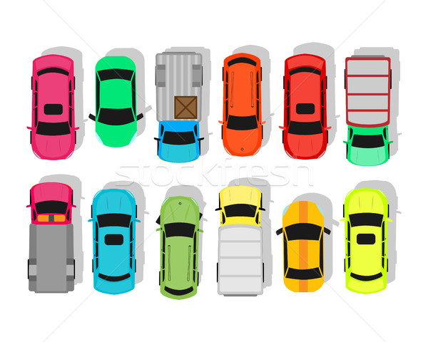 Multicolor Cars Isolated on White. City Parking Stock photo © robuart