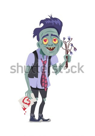 Zombie Valentine Man Flat Vector Illustration Stock photo © robuart