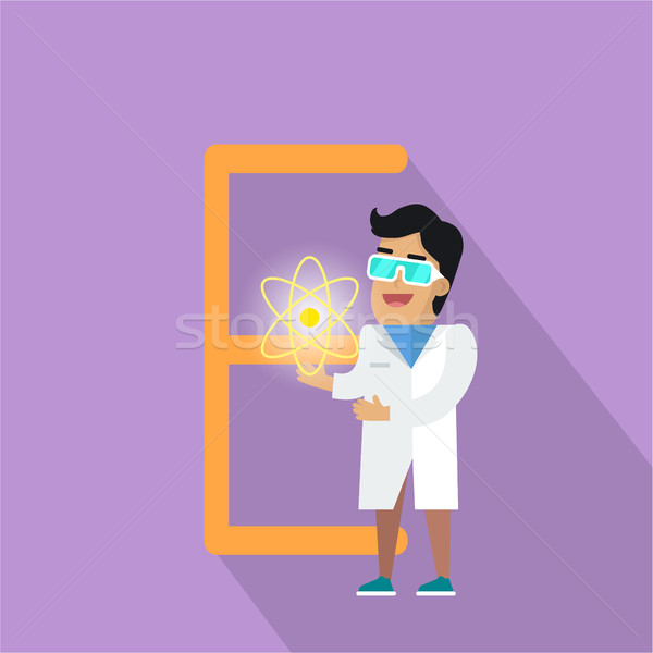 E Letter and Scientist with Electric Field. Stock photo © robuart