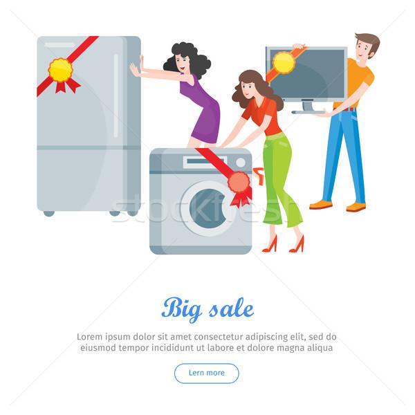 Supermarket Sale Banner. Household Appliances Stock photo © robuart