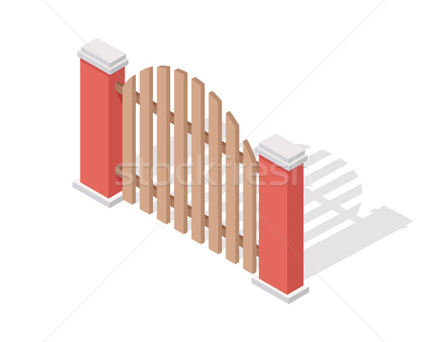 Wooden Fence Vector In Isometric Projection Stock photo © robuart