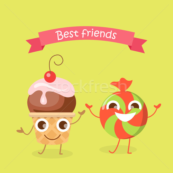 Best Friends Caramel Candy and Cupcake Characters Stock photo © robuart