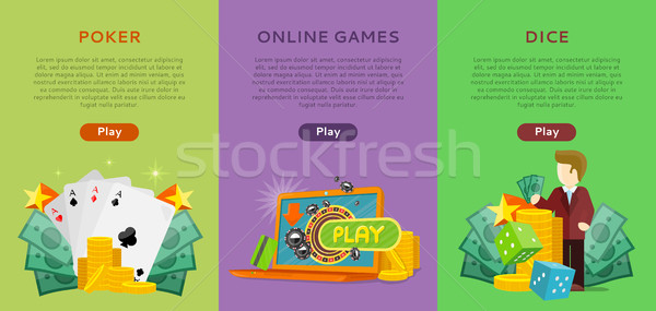 Pocker, Online Games, Dice Casino Banners Set. Stock photo © robuart