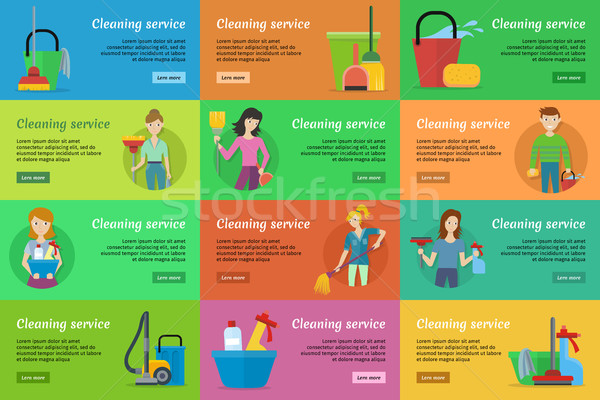 Ingesteld schoonmaken dienst banners man vrouw Stockfoto © robuart