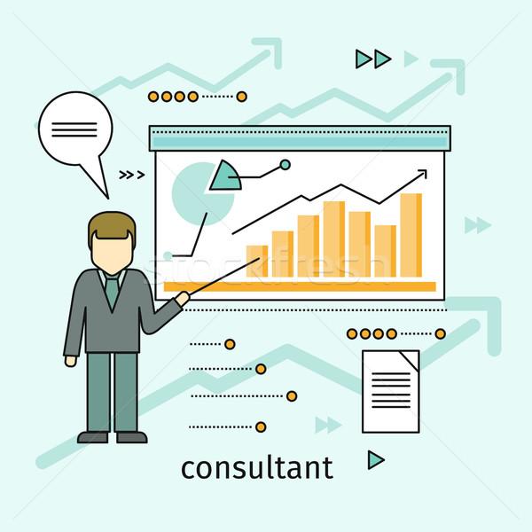 Foto stock: Negócio · consultor · vetor · projeto · homem · em · pé