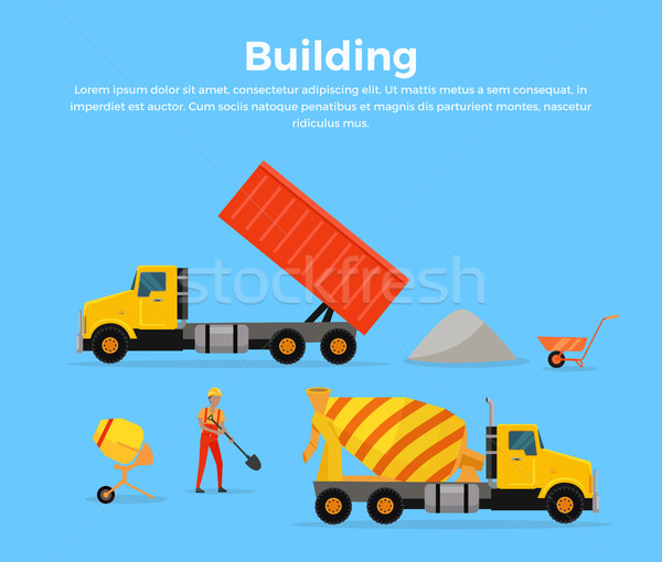 Building Concept Banner Flat Design Vector Stock photo © robuart