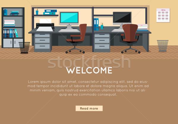 ストックフォト: 歓迎 · ベクトル · スタイル · デザイン · オフィス · 職場