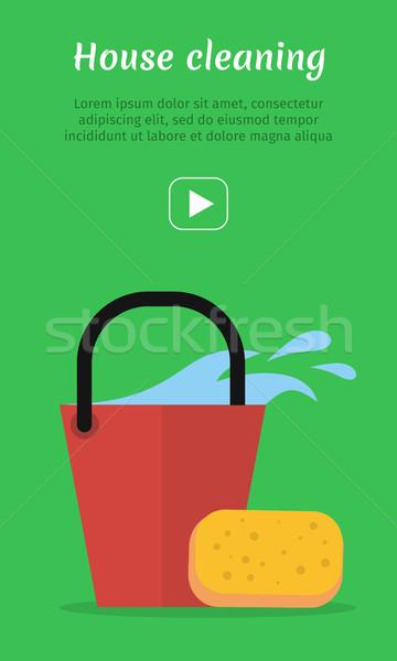 Pulizia web banner secchio acqua spugna Foto d'archivio © robuart