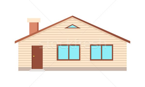 Huis twee Windows deur schoorsteen geïsoleerd Stockfoto © robuart