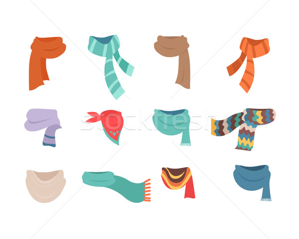 Set of Scarves for Cold Weather to Boys and Girls Stock photo © robuart