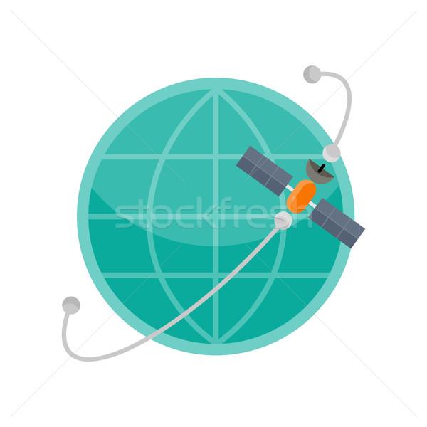 世界中 衛星 アイコン グローバル通信 接続 青 ストックフォト © robuart
