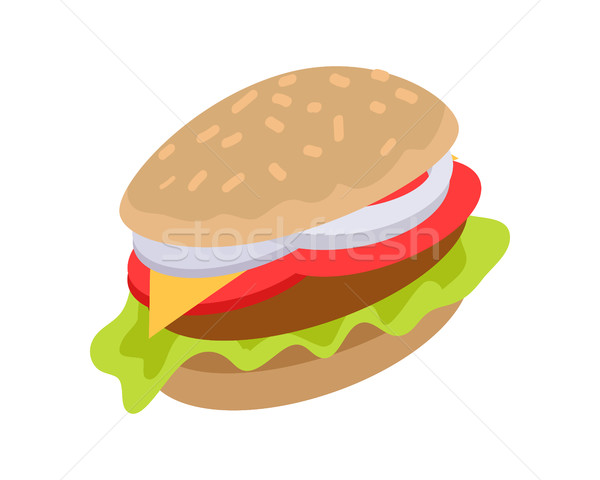Hamburger Icon in flat. Burger with Meat, Cheese Stock photo © robuart