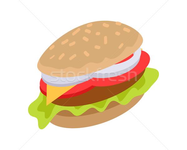Hamburguesa icono Burger carne queso lechuga Foto stock © robuart