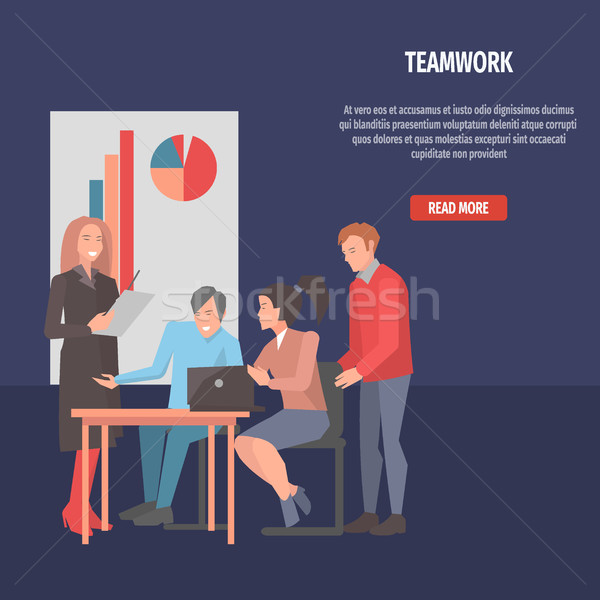 People Resolving Issues on Laptop Teamwork Startup Stock photo © robuart