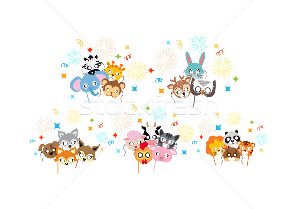 Animal Carnival. Collection of Cartoon Masks. Stock photo © robuart