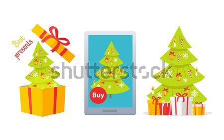 Best Presents Christmas Tree on White Background Stock photo © robuart