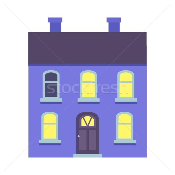 Odizolowany niebieski budynku dwa cartoon Zdjęcia stock © robuart