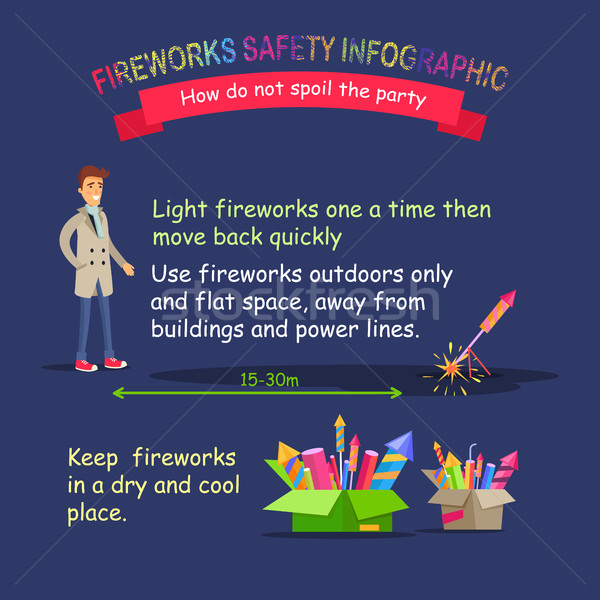 Fireworks Safety Infographic. Right Distance. Stock photo © robuart