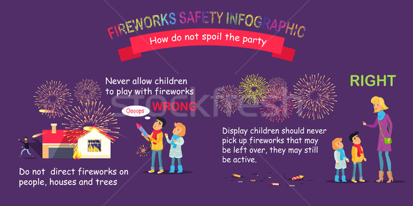 Fireworks Safety Infographic, Wrong and Right Stock photo © robuart