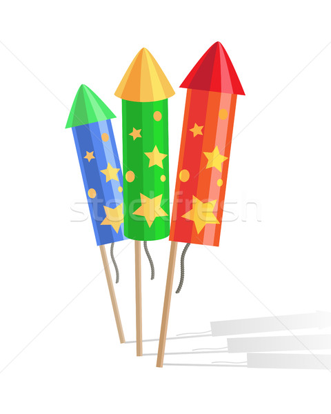 Colourful Exploding Rockets Isolated on White Background Stock photo © robuart
