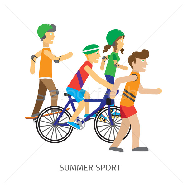 Summer Sport. Children Going in for Sport Stock photo © robuart